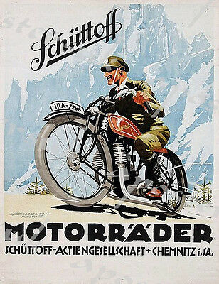 Vintage Swiss German Schutoff Motorcycle Advertisement Poster A3//A4 Print