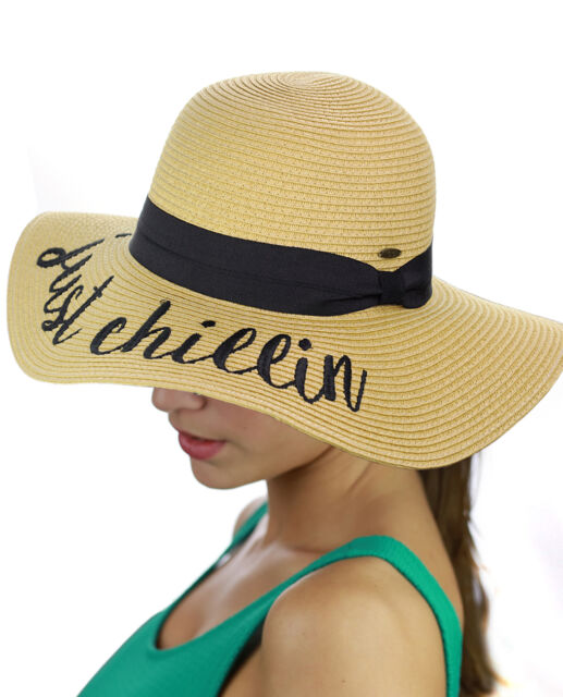 63761a4f1d3 NEW! CC Women's Paper Weaved Beach Time Embroidered Quote Floppy Brim CC  Sun Hat for sale online