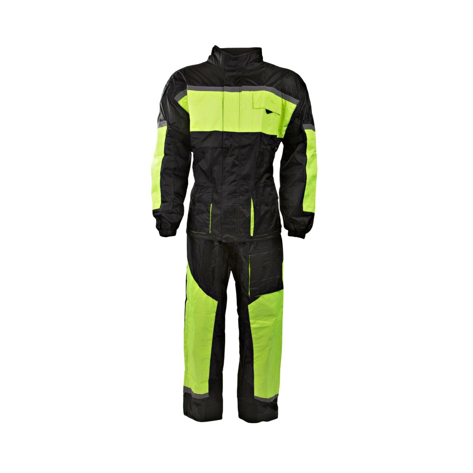 schwarz 100% Wasserdicht Hi-Viz Zwei 2-tlg Regenanzug Regenanzug Regenanzug Motorrad Oversuit bcc35d