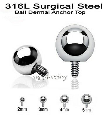 2pcs 14g 8mm Threaded Ball Titanium Anodized Surgical Steel Replacement Top Part