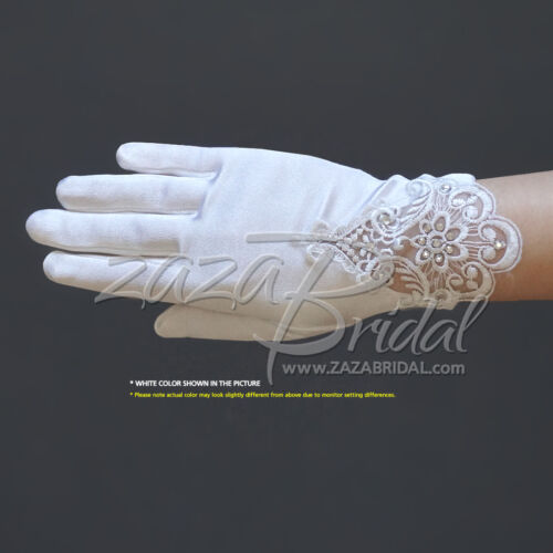Girl/'s Satin Gloves with Embroidery /& rhinestone accents