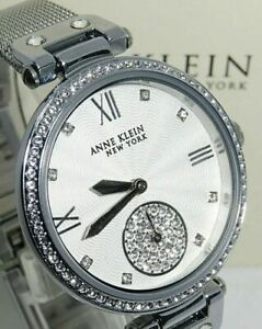 Anne-Klein-NY-Women-s-Watch-12-2309SVSV-Silver-Tone-Swarovski-Crystals-NWT-NIB
