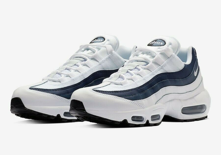 Nike Air Max 95 Essential Trainers White Midnight Navy Platinum