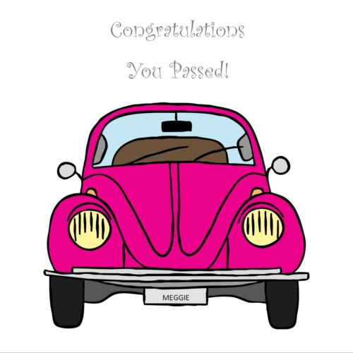 Congratulations You Passed Personalised Driving Test Card Vintage VW Beetle Girl