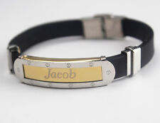 JACOB-il bracciale con nome-Da Uomo In Silicone & GOLD TONE INCISA-Regali per Lui