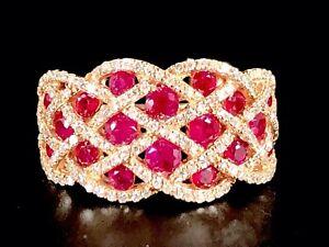 RARE-EFFY-14K-ROSE-GOLD-RUBY-ROYALE-153-DIAMOND-INTERWOVEN-COCKTAIL-RING-SZ-7