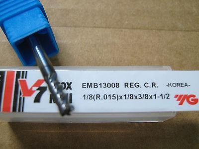 "YG-1 Aitin coat 1//8/""x3//8/""LOCx1 1//2/""OAL W//.015R V7 4FLT Carbide End Mill"