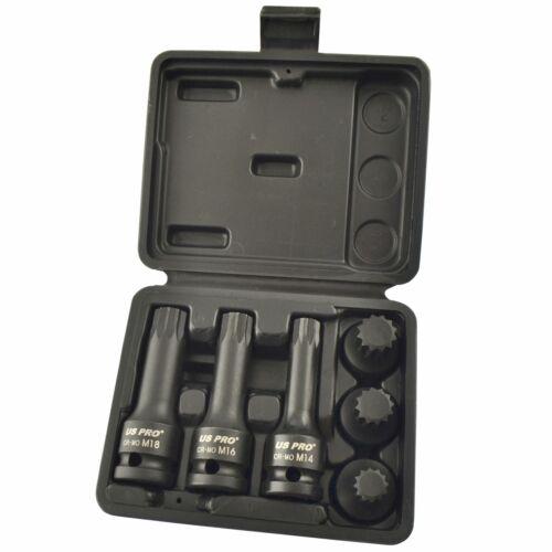 "M18 6pc Shallow and Deep AT829 Spline Socket set Triple Square 1//2/"" Drive M14"