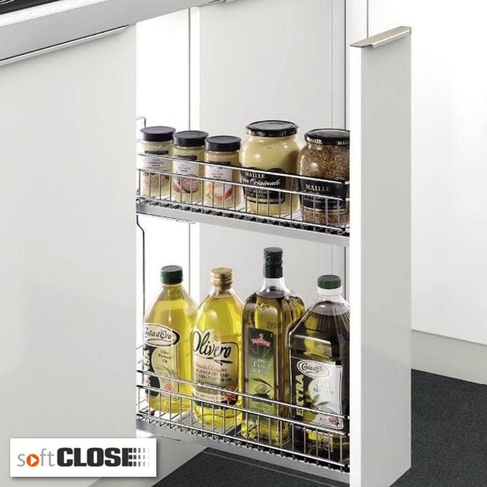 Chrome Soft Close Kitchen Pullout Space Saver To Fit 150mm Cabinet Width