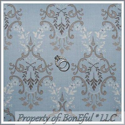 BonEful Fabric FQ Cotton Quilt Moda Baby Boy Nursery Decor Blue Brown Tan Damask