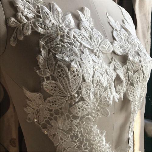 1Pair Trim Embroidery Lace Applique Sewing Motif DIY Wedding Bridal Dress Crafts