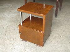 Ancienne table de chevet en métal imit. bois vintage années 1950 french antique