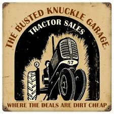 Busted Knuckle Garage Tractor Shop Traktor Nostalgie Sign Blechschild Schild NEU