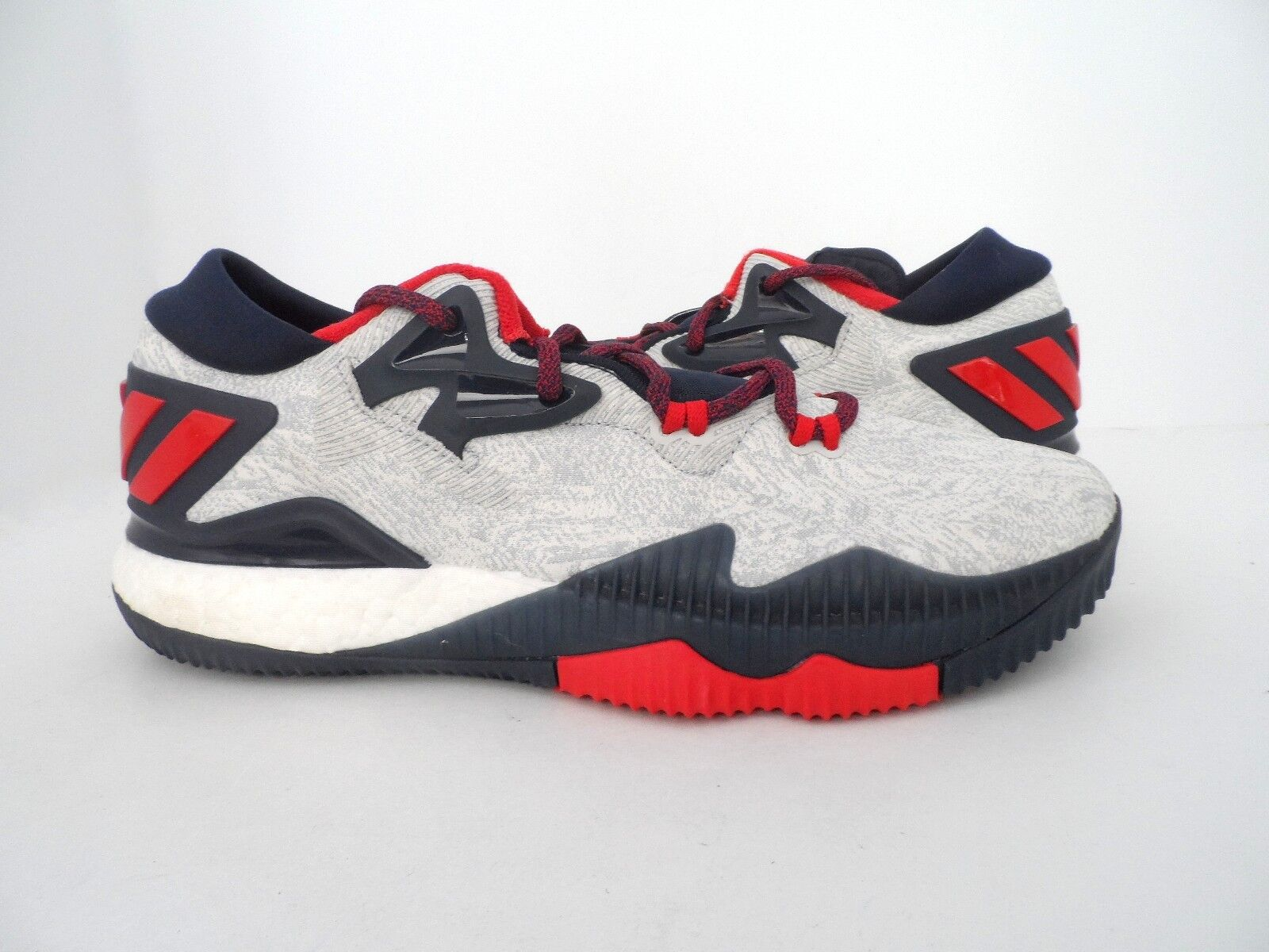 Adidas Men's Crazylight Boost Low 2016 Basketball shoes White Scarlet Navy 10.5