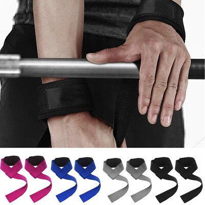 2X Weight Lifting Straps Wrap-Gym Wrist Training-Support Grip Bandage ~ Ha P6B4