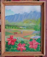VTG 1944 SIGNED ORIG OIL PAINTING HAWAIIAN LANDSCAPE BY WARD E. HERRMANN