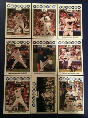 2008 Topps NEW YORK YANKEES Complete Team Set Series 1 /& 2 MANTLE 23 Cards LOOK