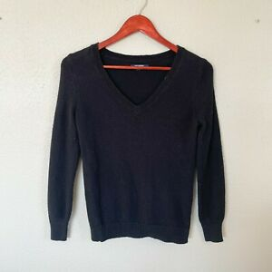 Old-Navy-Size-S-Small-Black-V-Neck-Long-Sleeve-Sweater-Women-039-s