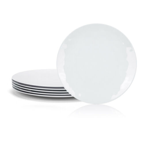 6 Piece 10inch Round 100/% Melamine Dinner Plates,Break-resistant and Lightweight