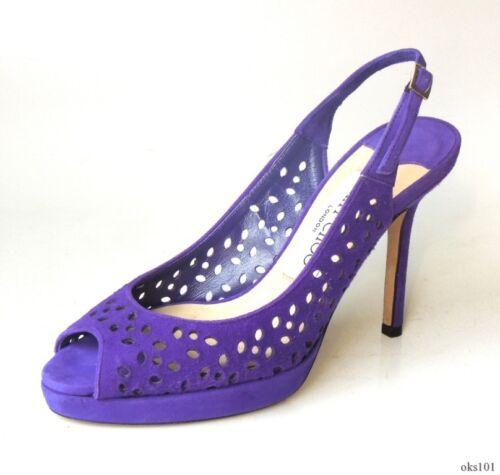 df56349a824b 2 of 6 new  695 JIMMY CHOO laser cut purple suede open-toe slingbacks shoes  34 4 -