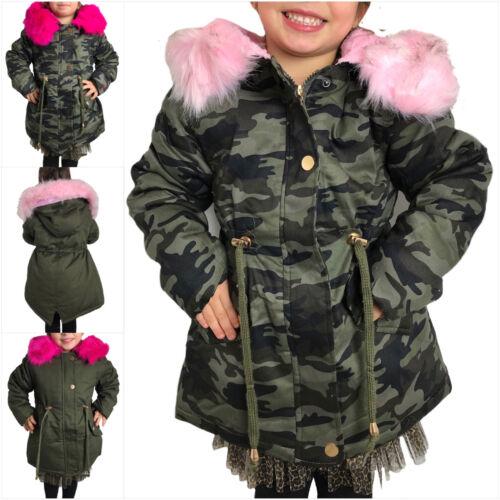 Bambini Ragazza Inverno Giacca Parka Mimetico Cappotto Pelliccia Sintetica Rosa Cappuccio 98 -164