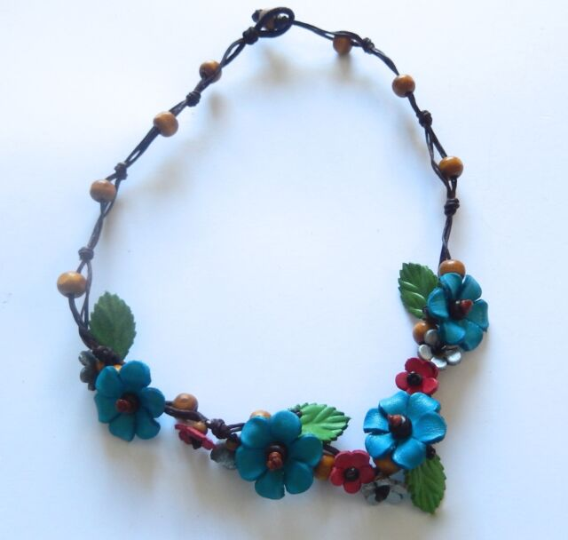 Necklace-Leather-turquoise Flowers-brown cord-green leaves-wood beads-choker
