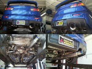 "Tsudo 3"" JDM Single Exit burnt tip Cat back exhaust For Mitsubishi EVO10 EVO X"