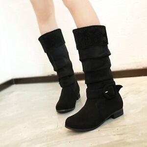 size 5 15 womens suede low block heels mid calf snow warm
