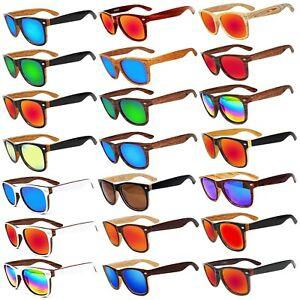 Sunglasses two tone wood grain pattern frame sunglass Mirrored lens Mens Womens