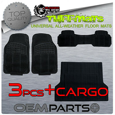 SUV 4 PC RUGGED TUFF FLOOR MATS BLACK UNIVERSAL TRIM TO FIT DURABLE ALL WEATHER