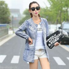 New Spring Autumn Denim Jacket Women Korean Fashion Medium Long Jeans Jacket
