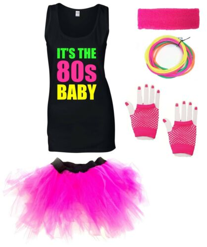 IT/'S THE 80s BABY Ladies Vest Outfit Fancy Dress Costume Neon Tutu 80/'s Gloves