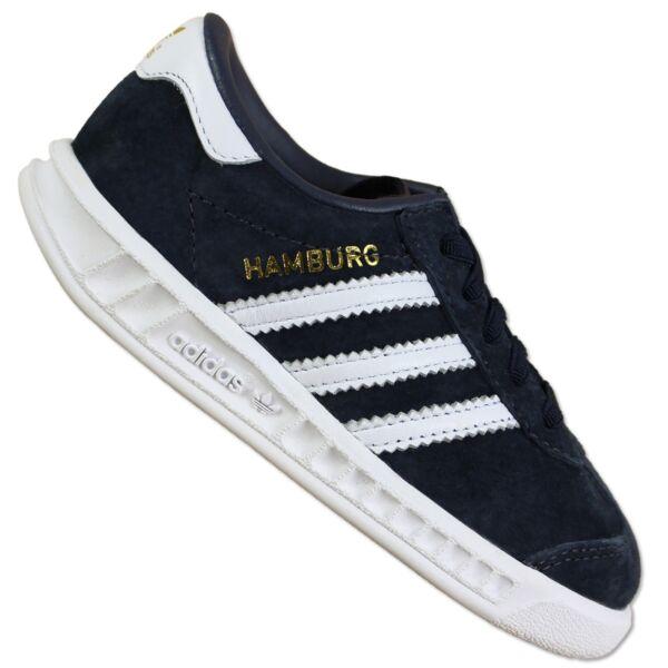official photos 62fbb 2abf7 ADIDAS ORIGINALS Hamburg Sneaker bambino vero cuoio Walker scarpe blu navy  20