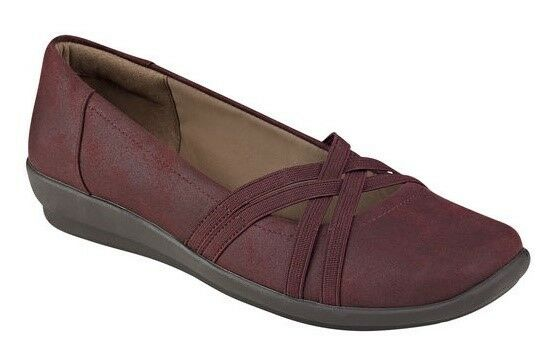 Easy Spirit Aubree wedge flats slip ons wine burgundy sz 11 WIDE NEU
