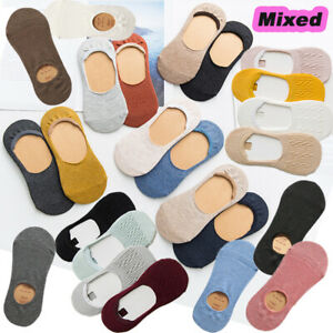 5-Pack-Women-Cotton-No-Show-Nonslip-Invisible-Multicolor-Boat-Socks-Lot-Low-Cut