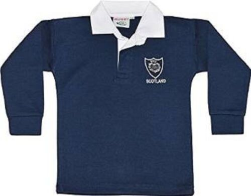 SCOTLAND SCOTTISH BABYS KIDS CHILDS RUGBY SHIRT FULL SLEEVE ALL SIZES  EMBROIDED