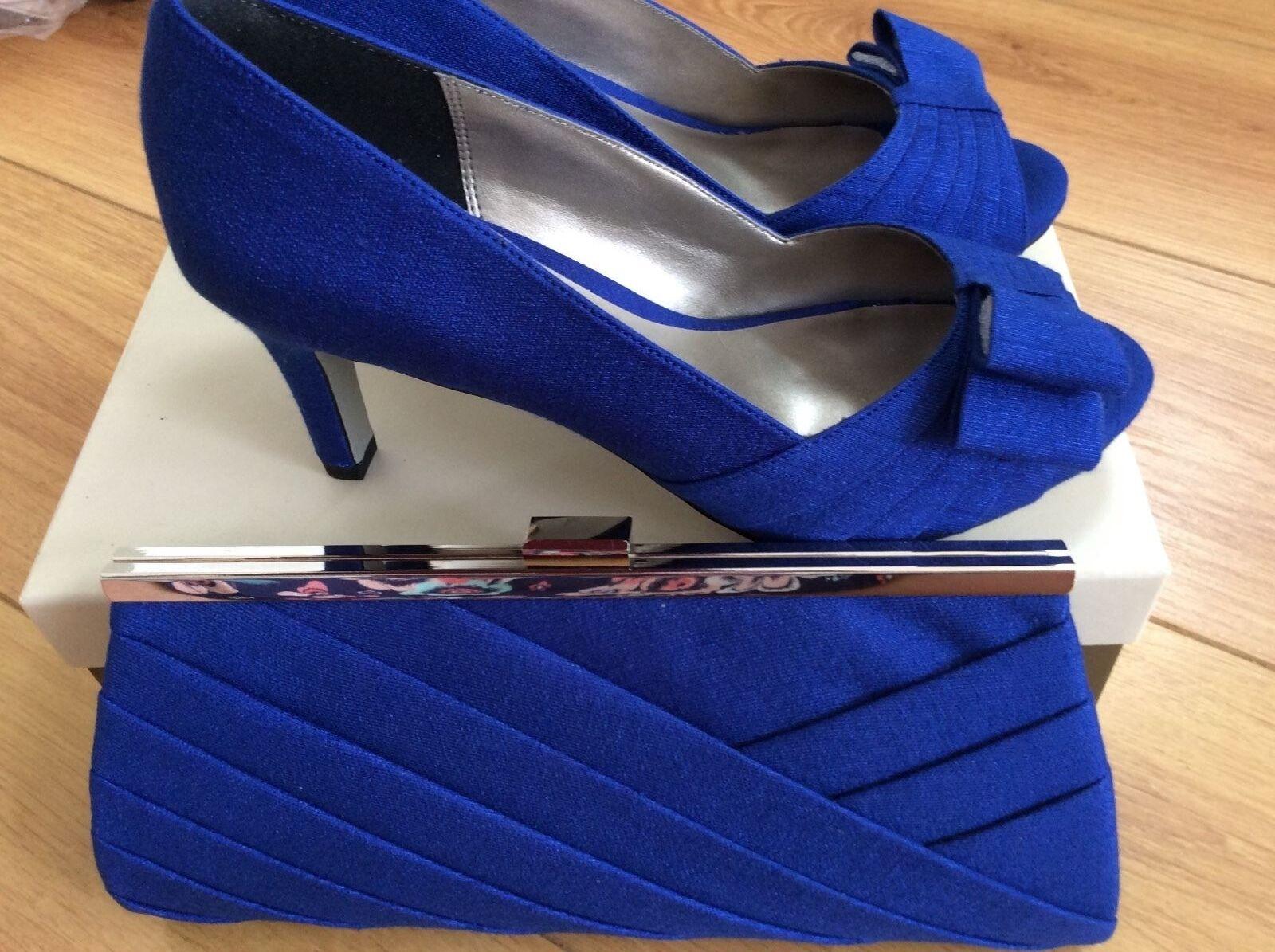 NUOVO goegeous & Elegante 5, Jacques Vert Scarpe, taglia 5, Elegante Blu & corrispondenza Borsetta bb8a58