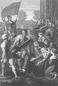 JESUS CHRIST CARRIES BEARS CROSS ~ Old 1860 RAPHAEL Bible Art Print Engraving