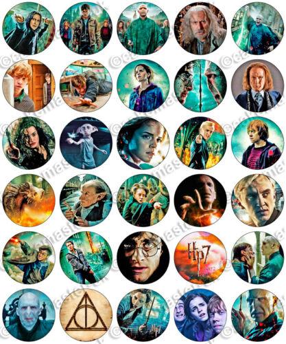 30 x Harry Potter Reliques de la mort Papier Riz Gaufrette Comestible Cupcake Toppers