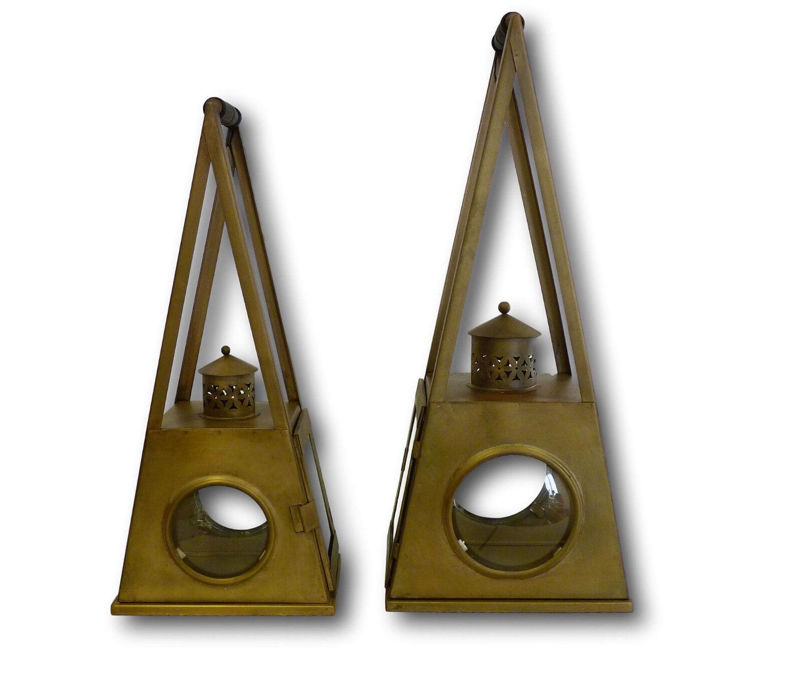 2er set metal farol viento luz lámpara cortavientos candeleros Retro Vintage