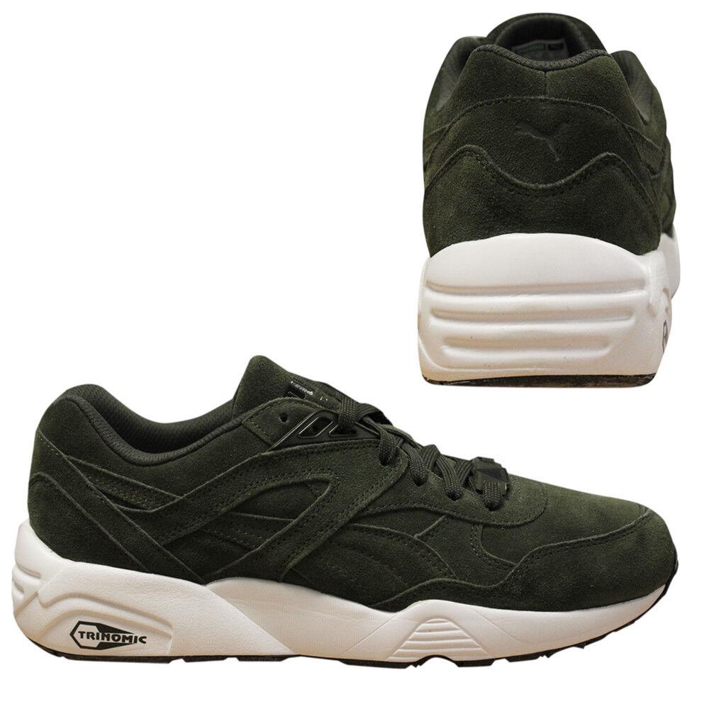 Puma Trinomic R698 Allover Suede Men Trainers Running schuhe Olive 359392 04 U84