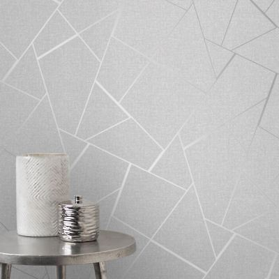 FRACTAL GEOMETRIC MARBLE METALLIC GREY WHITE SILVER LUXURY WALLPAPER FD42263