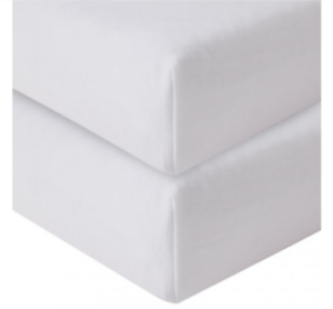 Obaby-Cot-Cot-Bed-100-Cotton-2-Fitted-Sheets-White-140-x-70cm-amp-120-x-60cm
