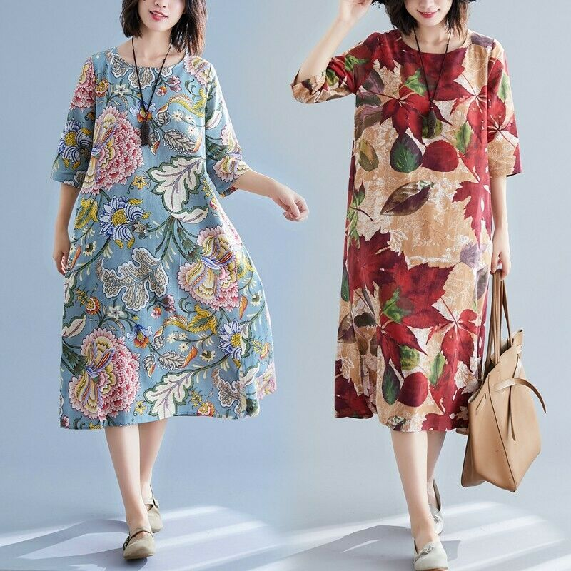 Retro Women Crewneck Loose Cotton Linen Maxi Dress Ethnic Style A Line Robe Plus