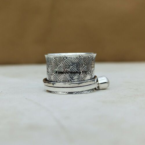 Pearl Ring 925 Sterling Silver Spinner Ring Meditation Statement Jewelry A72