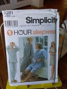 Simplicity-1-hour-9391-misses-men-039-s-sleepwear-pjs-nightshirt-chest-42-48-NEW