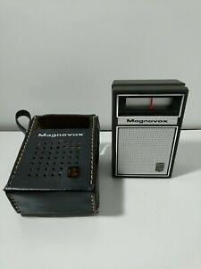 Vintage Magnavox Handheld Radio With Leather Case