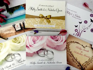 Personalised-Wedding-Invitations-amp-Evening-Invites-with-Envelopes-Double-Sided