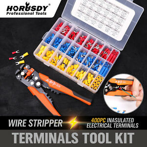 Electrical-Wire-Terminal-Kit-Cutter-Stripper-Plier-Crimper-400Pc-Connectors