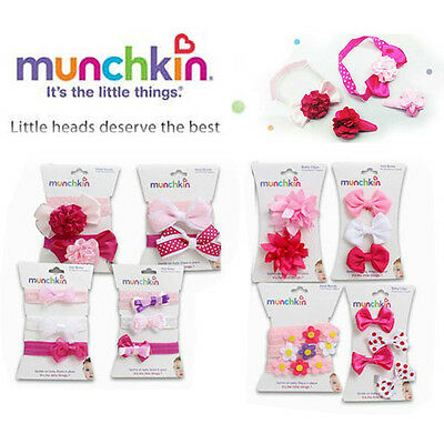 Munchkin Infant Hair Accessories Head Band Baby Hair Clips Pink White Purple NEW